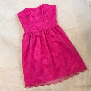 Lilly Pulitzer Hot Pink Embroidered Organza Dress